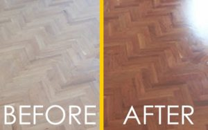Allwood floors before and after sanding and lacquering